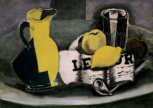Pitcher and newspaper (The Greek Vase). Georges Braque (1928)